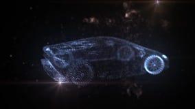 Lamborghini of blue particles 3D animation stock illustration