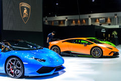 The Lamborghini booth. BANGKOK - MARCH 28 : The Lamborghini booth on display at The 38th Bangkok International Motor Show : Reach to The Planet of Technology on Royalty Free Stock Photo