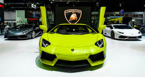 The Lamborghini booth on display at The 37th Bangkok International Motor Show Stock Photos
