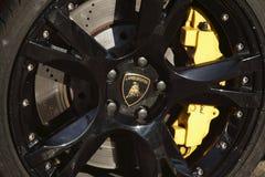 Lamborghini brakes. Logo Lamborghini wheel and brakes Stock Photography