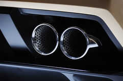 Lamborghini  car  exhaust pipe. A sport car exhaust pipe Royalty Free Stock Photography