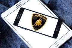 Lamborghini car logo. Logo of lamborghini car brand on samsung mobile phone a5 royalty free stock images