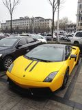 Lamborghini on the Chinese street. Italian`s luxury automobile brand Lamborghini on the Datong city street in early spring 2017. Datong is an old fashioned coal Stock Photo