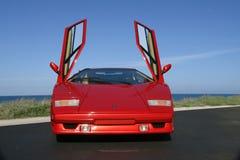 Lamborghini Countach 25th årsdag 1989 med öppna fiskmås-vinge dörrar royaltyfria foton