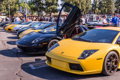 Lamborghini on exhibition parking at an annual event Supercar Su Stock Photos