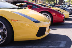 Lamborghini on exhibition parking at an annual event Supercar Su Stock Images