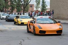 Lamborghini Gallardo bil på skärm royaltyfri foto