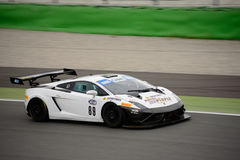 Lamborghini Gallardo GT3 at Monza. Cars Engineering Team is testing his Lamborghini Gallardo GT3 that will compete in the Italian GT Cup season 2016 with the Stock Image