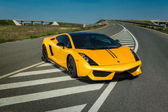 Lamborghini Gallardo. On the highway Royalty Free Stock Photo