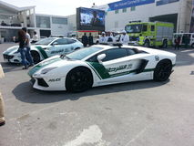 Lamborghini gallardo police car. Dubai Air Show Royalty Free Stock Image