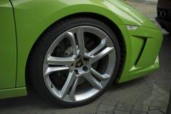Lamborghini Gallardo Squadra Corse小轿车敞蓬车绿色 图库摄影