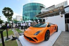 Lamborghini Gallardo su esposizione alla manifestazione 2013 dell'yacht di Singapore Fotografia Stock Libera da Diritti