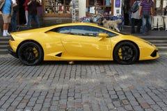 黄色Lamborghini Gallardo Willimantic 免版税库存照片