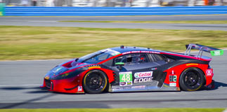 Lamborghini GTD race car at Daytona Speedway Florida. The Lamborghini GTD race car practices for the 2016 Rolex 24 hours of Daytona at the Daytona Speedway in Royalty Free Stock Photography