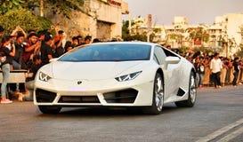 Lamborghini Huracan特写镜头被显示在一个学院节日在浦那,印度 库存照片