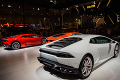 Lamborghini Huracan, 2014个CDMS后方  库存照片
