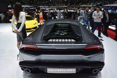Lamborghini Huracan bij de de Motorshow van Genève stock afbeeldingen