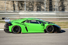 Lamborghini Huracan GT3 racing car at Monza. HB Racing team brings his Lamborghini Huracan on track at the Autodromo Nazionale Monza, in occasion of 2017 test Royalty Free Stock Photo