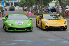 Lamborghini Huracan i Lamborghini Gallardo samochód na pokazie Zdjęcia Stock