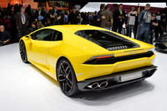 Lamborghini Huracan. Rear view of a yellow Lamborghini Huracan car pictured at the Geneva Motor Show in 2014 Stock Photo