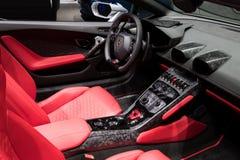 Lamborghini Huracan RWD Spyder sports car interior Royalty Free Stock Photo