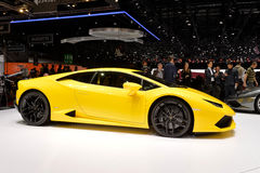 Lamborghini Huracan. Side view of a yellow Lamborghini Huracan at the Geneva Motor Show in 2014 Stock Photos