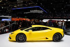 Lamborghini Huracan. Yellow Lamborghini Huracan pictured at the Geneva Motor Show in Switzerland, 2014 Royalty Free Stock Photo