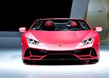 Free Lamborghini Huricane EVO Spider - Red Supercar On Stage Royalty Free Stock Photography - 171358067