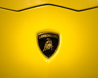 The Lamborghini logo shows a bull or Taurus. Royalty Free Stock Images
