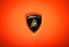 The Lamborghini logo shows a bull or Taurus. Stock Photography