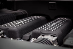 Lamborghini LP560-4超级发动机 免版税库存图片
