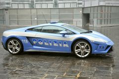 Lamborghini luxury police car in Florence , Italy Royalty Free Stock Photography