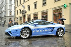 Lamborghini luxury police car in Florence , Italy Royalty Free Stock Photos