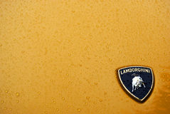 Lamborghini onder regen met waterdalingen Royalty-vrije Stock Afbeeldingen
