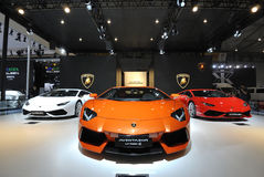 Lamborghini pavilion. ,17th Chengdu Motor Show, August 29th-September 7th, 2014. Chengdu Motor Show, One of the big four auto show in China royalty free stock photography