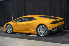 Lamborghini. Picture of brand new lamborghini in display at the international show car association 2015. Isca show car 2015 at quebec, canada stock photos