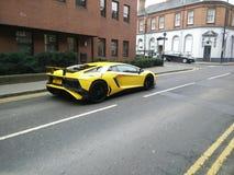 Lamborghini on road. Lamborghini aventador on an open road Stock Image