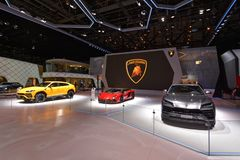 88th Geneva International Motor Show 2018 - Lamborghini stand royalty free stock photos