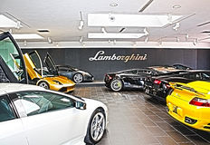 Lamborghini Sales Floor HDR. Lamborghinis line the sales floor in an HDR portrait of luxury stock photography