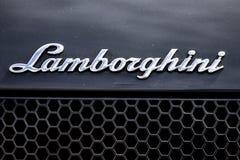 Lamborghini Script Logo. Chrome Lamborghini lettering emblem on a hi performance super sports car Stock Photos