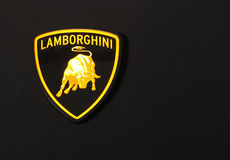 Lamborghini sign. BEIJING - APRIL 29: A Lamborghini emblem is seen at the 2010 Beijing International Automotive Exhibition (Auto China 2010) on April 29, 2010 in stock photo