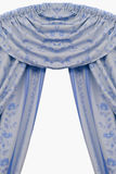 Lambrequin. Blue Velvet Curtains in home Stock Photos