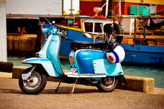 Lambretta at the fish docks Royalty Free Stock Photo