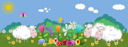 Lambs and easter eggs on the springfield Royalty Free Stock Photography