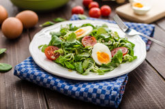 Lambs lettuce salad, hard-boiled eggs Royalty Free Stock Photos