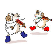 Lambs are musicians. Two cheerful lambs play violins Stock Photo