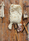 Lambskin and hand made ethnic articles. For sale Stock Photo