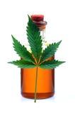 Lame de cannabis et bouteille de pétrole Photos libres de droits