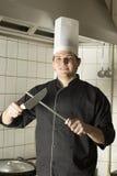 lame del cuoco unico che affilano fotografie stock libere da diritti