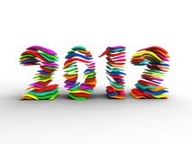 Lamella of new year. 3d illustration of several layers of color forming the new year Royalty Free Stock Photography